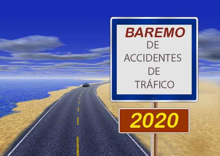 Carretera que marca el baremo de accidentes de tráfico 2020